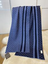 BNWT Authentic Gucci GG Guccissima Reversible Wool Scarf Navy & Mid Blue 30x200