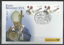 At567# Vaticano 50 cent NUMISBRIEF celebrativa Papa Benedetto XVI 2005-2013