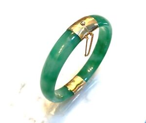 Dyed Jade Bangle Bracelet in Yellow Gold Filled in Green