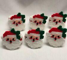 Needlepoint Santa Claus Napkin Holders Set Handmade Christmas Napkins Ornaments