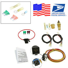"Dual Electric Engine Cooling Fan Harness Thermostat Relay 3/8"" NPT Switch Kit US"