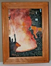 "Vintage Bethlehem Steel Original Painting pouring Steel 1971 Signed 17 x 13"""