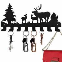 Key Holder Wall Mounted Christmas Tree Deer Black Coat Home Decor Towel Rack