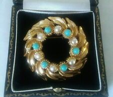 Superb Vintage Gold Turquoise & Pearl Garland Wreath Brooch december birthstone