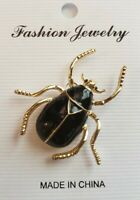 """NWT Black Enamel & Gold Tone Beetle Summer Insect Bug Novelty Unique 1.5"""" Brooch"""
