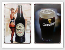(2-pc set) Tin Signs Guinness Beer Pin Up Girl Retro Metal Bar Signs Plaques