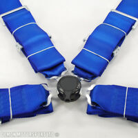 """3"""" Inch 4 Point Quick Release Seat Belt Harness (Blue) with Brackets"""