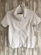 NIKE White Velvet Velour Soft High Collar Zip Jacket Sweatshirt S Small * OLDER*