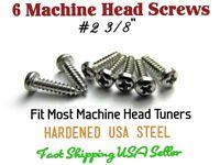 """6 Guitar Tuner Machine Head Screws #2 3/8"""" Phillips. Grover, Gotoh, Kluson etc"""