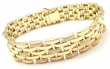 Authentic Cartier Maillon Panthere 18K Gold Diamond Five Row Link Gold Bracelet