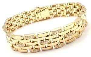 Authentic Cartier Maillon Panthere 18K Gold Diamond Five Row Link Gold Bracelet