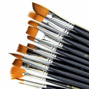 12pcs/Set Artist Paint Brush Nylon Hair Watercolor Acrylic Painting Oil