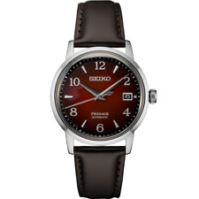 New Seiko Presage Cocktail Time Red Dial Leather Strap Men's Watch SRPE41