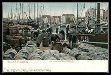 Netherlands Vlaardingen Unused Postcard ,ships loading Herring Fish Barrels