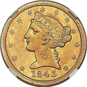 1843-D Five Dollar, AU55 NGC Rare Small D Variety