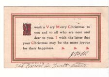 Very Merry Christmas Wishes, Vintage 1907 Undivided Back Postcard
