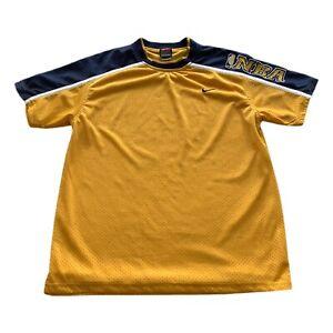 Vintage Nike Team Yellow Embroidered Swoosh Mesh NBA Shooting Shirt Men's Small