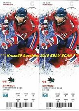 ANDREI MARKOV Lot of (2) FULL TICKETS 12/4/2010 Montreal CANADIENS GREAT vs SJ