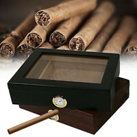 Cigar Humidor Box Storage Cedar Wood Wooden Lined Case Humidifier Hygrometer