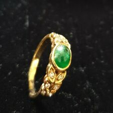 Vintage 18K yellow GOLD NATURAL stones,DIAMONDS & emerald RING SIZE N (C1/R11)