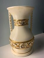 Art Deco Hand Painted  Vase white/ Gold with Blue detail