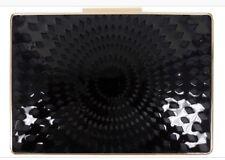 Sondra Roberts Black Patent Laser Cut Box Clutch Handbag Purse
