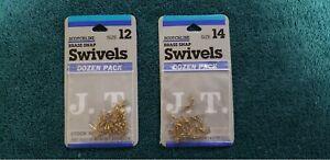 Lot of 2 - Jeros Tackle Scotchline Snap Swivel 144SS Brass 12/pack size 12 or 14