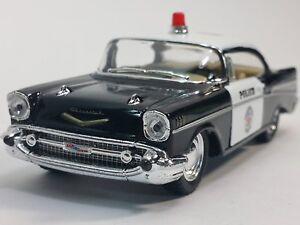 "New 5"" Kinsmart 1957 Chevrolet Bel Air Police Car 1:40 Chevy Cop Diecast Model"