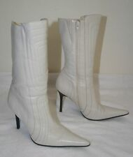Women's ALDO White Leather Quilted Leather Boots Mid Calf Stiletto Size 41 US 10