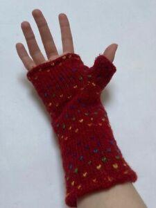 used once black yak fingerless mitten winter gloves wool made in nepal