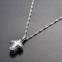 925 Silver Locket Magnet Cross Pendant Chain Necklace Chocker Women Man Jewelry