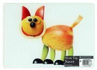 Brighten Your Kitchen 25cm Glass Chopping Board Worktop Saver Cute Cat Design