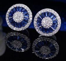 Boxed ART DECO STYLE Faux Sapphire Diamond Paste Silver Stud CRYSTAL EARRINGS UK