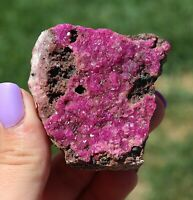 Glittery Hot Fuchsia Pink Cobaltoan Calcite Crystals On Matrix From The Congo (: