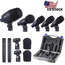 Pro TAKSTAR Wired Microphone Set Black for Drum Kit+Case 5 Drum/2 Condenser Mics