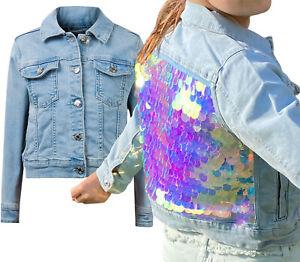 BNWT Primark Girls Denim Jacket kids sequin summer soft Jean sparkle coat 3-15 Y