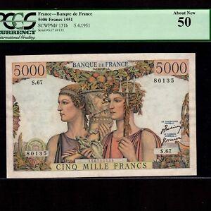 France 5000 Francs 1951 P-131b * PCGS AU 50 * Mercury *