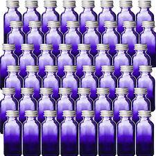1oz Purple Shaded Glass Bottles w Silver Aluminum Caps. 48 Pack New (30 ML)