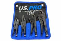 US PRO by BERGEN LOCKING PLIER SET CURVED & STRAIGHT LONG NOSE mole grips 1676