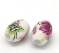 "50PCs Flower Pattern Oval Ceramic Beads 10x8mm(3/8""x3/8"") ##"