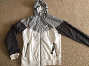 *BRAND NEW* Men NIKE Windbreaker Hoodie Full Zip Jacket Gray/white Sz Small