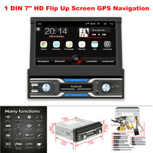"1 DIN 7"" HD Flip Up Screen GPS Navigation Car Stereo Player Radio BT Intelligent"