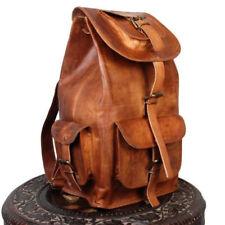 20'' Goat Leather Backpack Travel Rucksack Luggage Camping Bag Genuine Brown