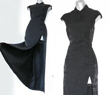 KAREN MILLEN Vintage Black Jacquard Oriental Style Cocktail Maxi Dress UK 14 42