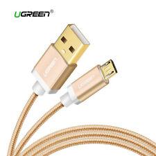 Cable Micro USB carga rapida reforzado UGREEN dorado metalizado 1M 2M