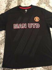 Manchester United Soccer Short Sleeve V Neck T Shirt Men's L Black Man Utd