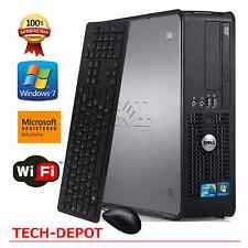 Fast Dell Slim Tower Computer PC Intel Core 2 Duo 4GB RAM 250GB HD Windows 7