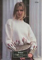Sunbeam Knitting Pattern Flower Sweater Ladies Lacy Neck 32-42 Aran Vintage 1761