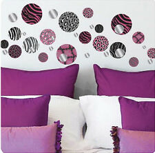 ANIMAL PRINTS POLKA DOTS CIRCLES wall stickers with light weight mirror 34pcs