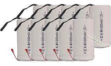 10x Sub C subc Con Tab 6000mAh 1.2V Ni-MH ricaricabili alto potere bianco